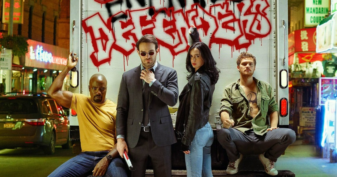 Defenders na tle graffiti
